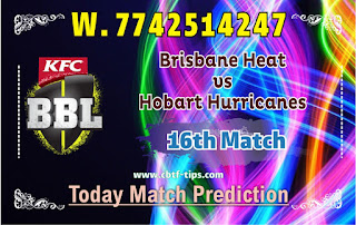 Brisbane vs Hobart 16th Match Who will win Today BBL T20? Cricfrog