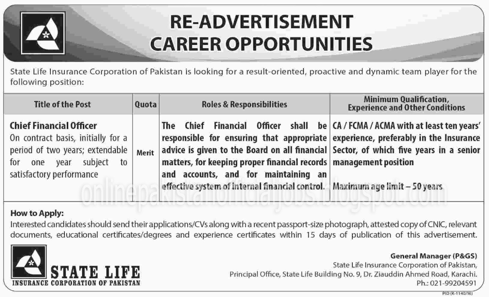 State Life Insurance Corporation Officer Jobs