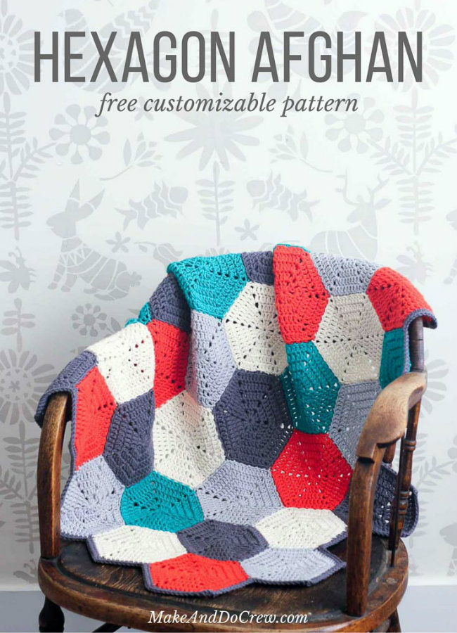 Free crochet pattern: crochet hexagon blanket (photo by Make and Do Crew) | Happy in Red