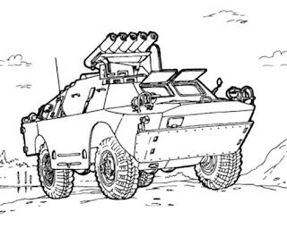 Transportation Coloring Sheets: Military Vehicles Coloring
