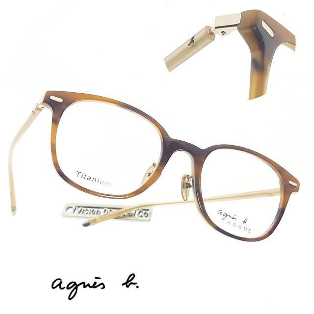 agnes b round black titanium eyeglasses