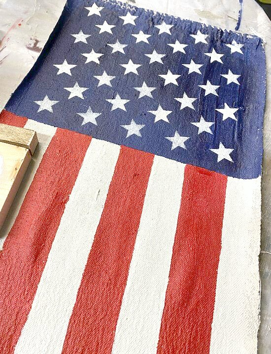 American flag painted on a painter's cloth