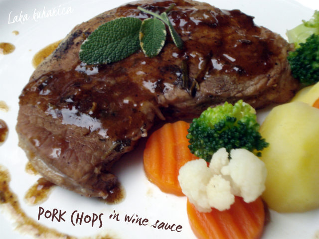 Pork chops in wine sauce by Laka kuharica: Light wine sauce makes these succulent pork delicious.