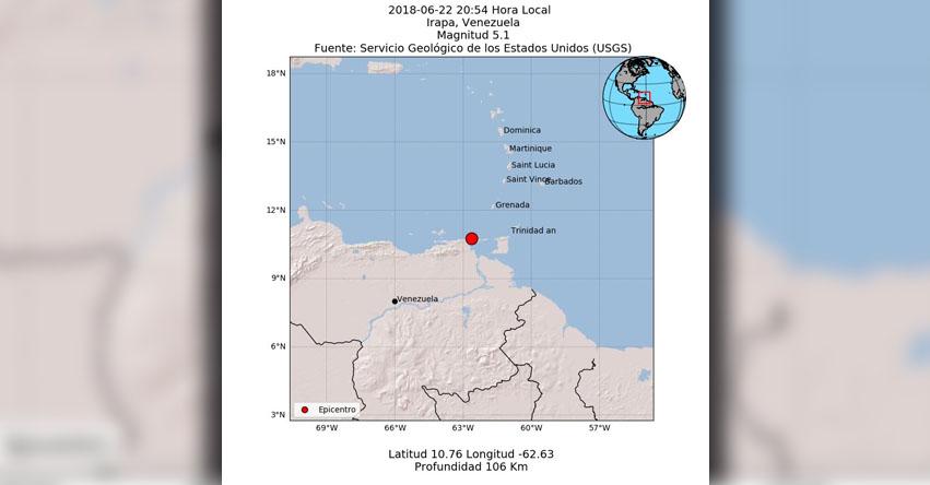 TERREMOTO EN VENEZUELA de magnitud 5.0 (Hoy Viernes 22 Junio 2018) Sismo Temblor EPICENTRO - Irapa - Sucre - FUNVISIS - www.funvisis.gob.ve