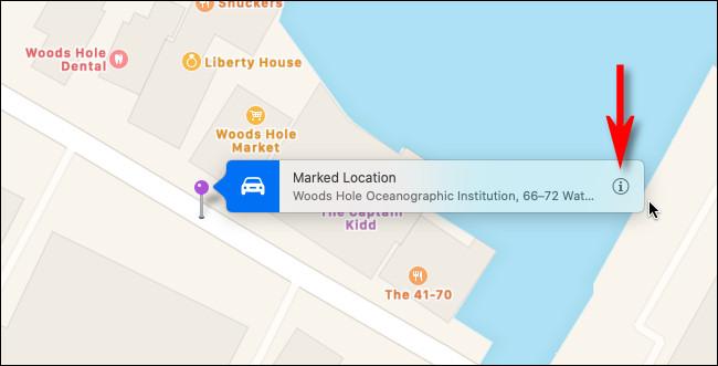 """ضع دبوسًا في خرائط Apple على نظام Mac وانقر فوق الزر """"معلومات""""."""