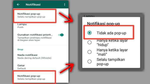 Menonaktifkan Notifikasi Pop Up Chat/Panggilan di Pengaturan WA