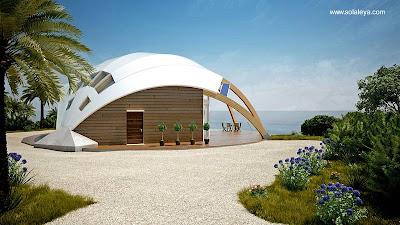 Imagen del renderizado de un proyecto de casa domo pasiva