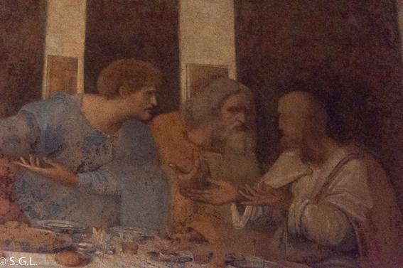 Apostoles en la ultima cena de Leonardo Da Vinci. Milan