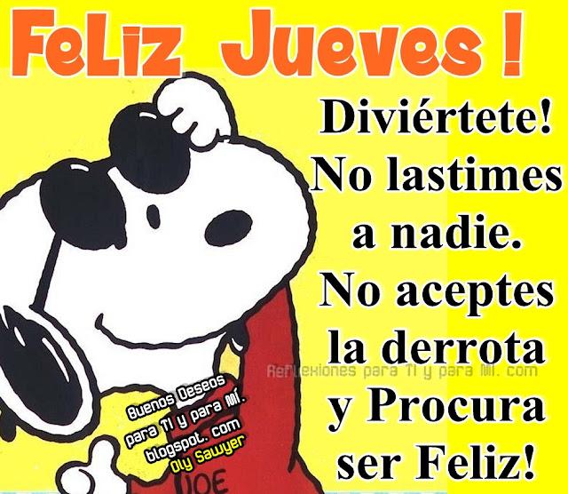 FELIZ JUEVES !  Diviértete! No lastimes a nadie. No aceptes la derrota y Procura ser Feliz!