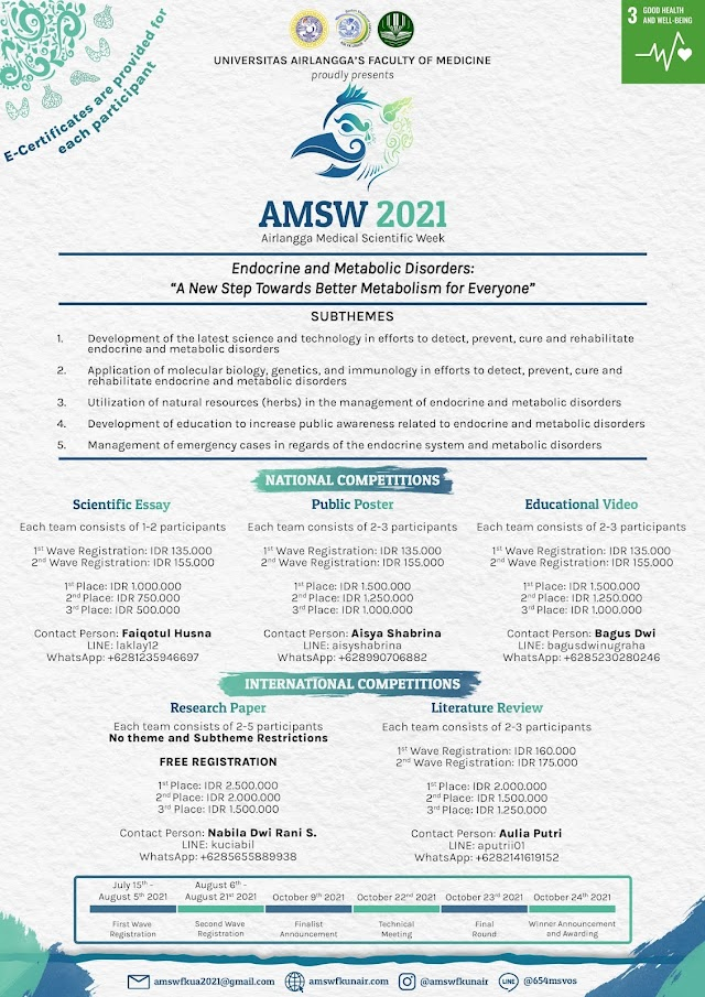 Airlangga Medical Scientific Week (AMSW) ❝ Endocrine and Metabolic Disorder: A New Step Towards Better Metabolism for Everyone❞