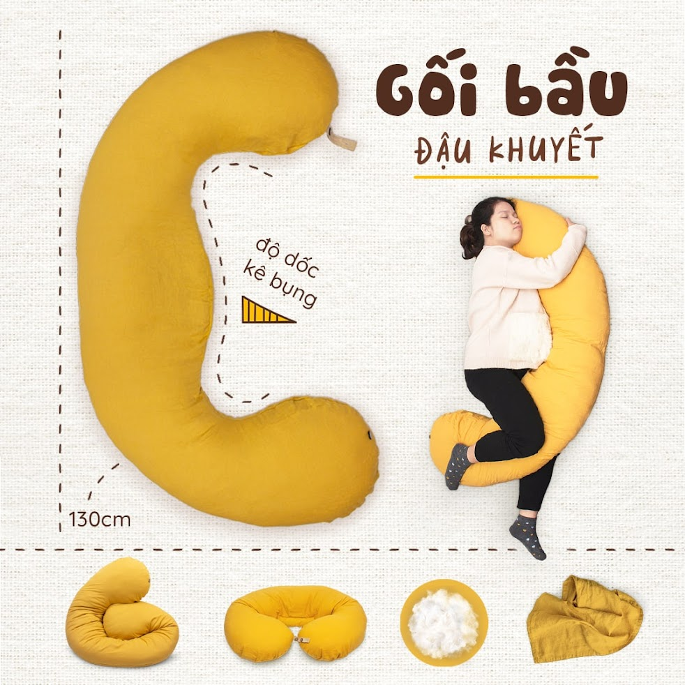 [A159] Gối ôm Bà Bầu chữ C an toàn cho Mẹ - Tốt cho sự phát triển của bé