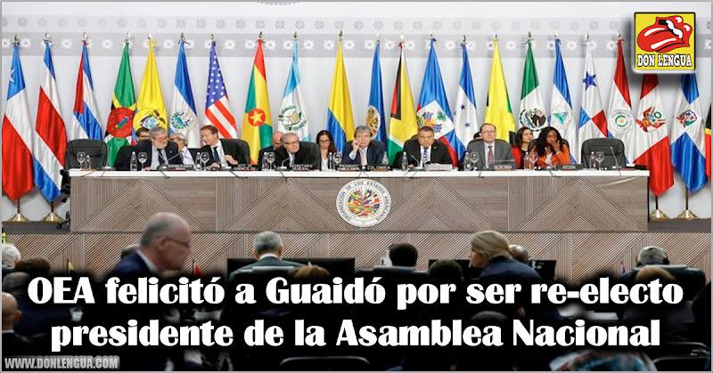 OEA felicitó a Guaidó por ser re-electo presidente de la Asamblea Nacional