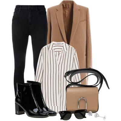 kemeja longgar garis-garis, anting berlian, sepatu semi boots hitam, celana hitam, camel coat