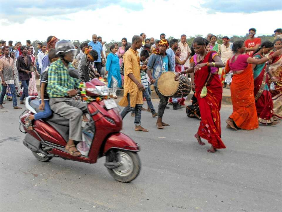 Adivashi people celebrating Dashami, Golaghat