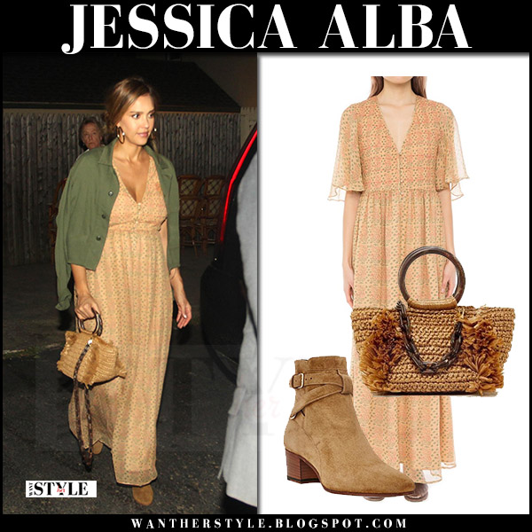 Jessica Alba in green jacket and peach printed maxi dress the hamptons style august 5 2017