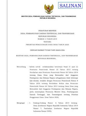 PERMENDES PEMBANGUNAN DAERAH TERTINGGAL, DAN TRANSMIGRASI  NOMOR 11 TAHUN 2019