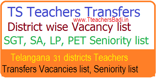 TS Teachers Transfers District Vacancy list 2018 – Check SGT SA LP PET GHM District Seniority List