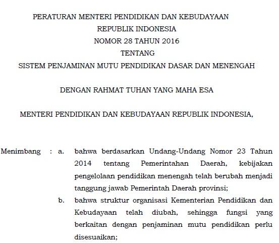 Download Permendikbud Nomor 28 Tahun 2016 Tentang Sistem Penjaminan Mutu Pendidikan Dasar dan Menengah (SPM-Dikdasmen)