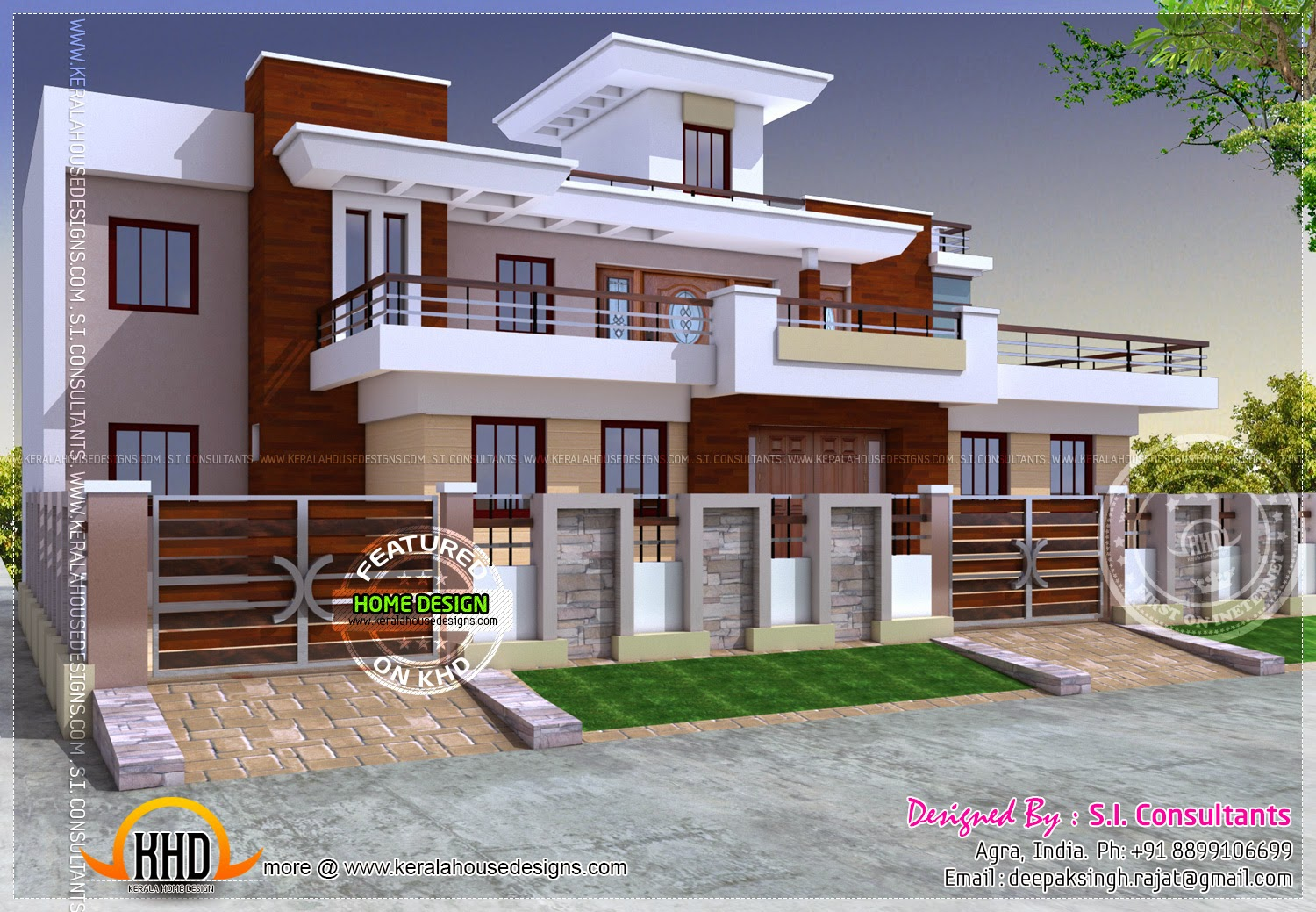 Modern style india house plan kerala home design and Indian house front design photo