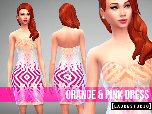 Laude Studio : Orange & Pink Dress #SIMS 4