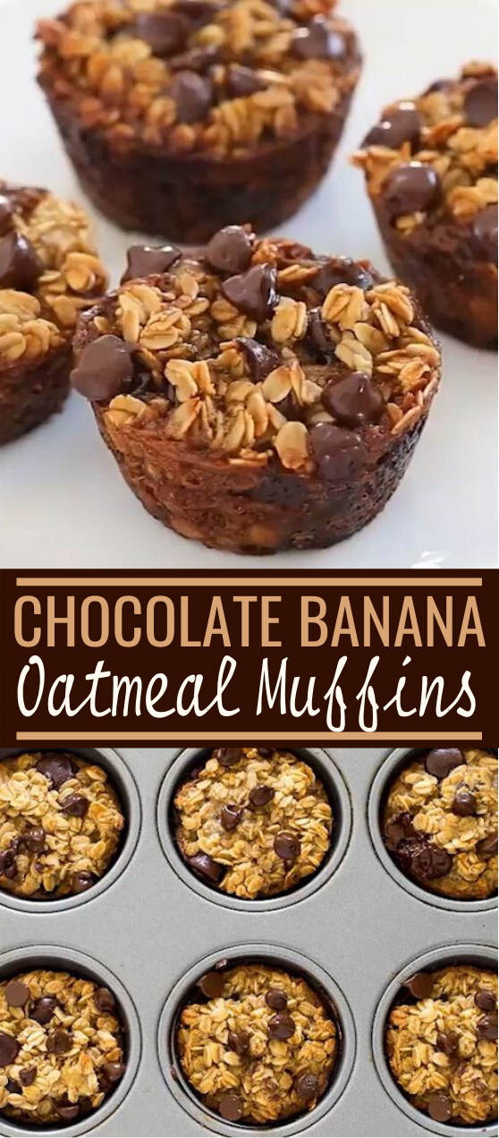 Healthy Banana Chocolate Chip Oatmeal Muffins #healthy #breakfast #flourless #muffins #mealprep