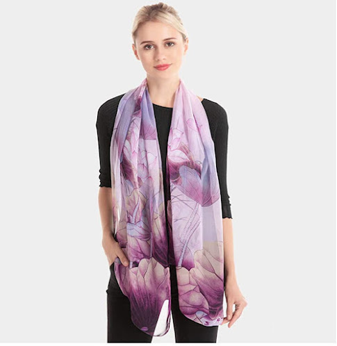 Flower Print Purple Chiffon Scarves