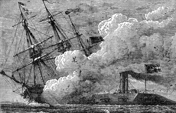 drawing of the Battle of Hampton Roads