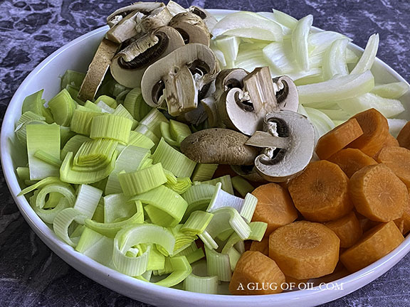 Vegetables prepared for the slow cooker