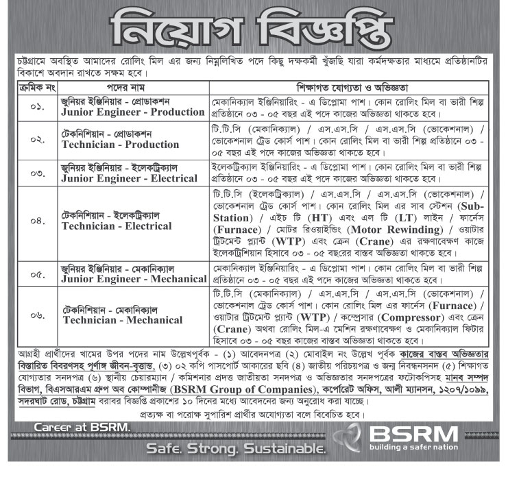 Bangladesh Steel Re-rolling Mills Limited (BSRM) Lineman Job Circular 2019