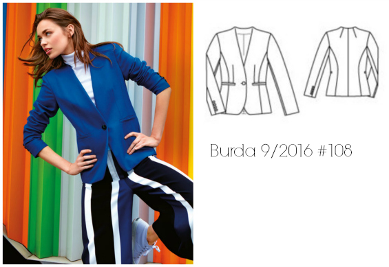 Burda 9/2016 #108 tailored blazer www.loweryourpresserfoot.blogspot.com