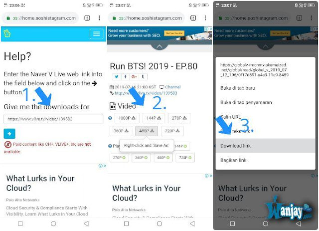 cara download video di v live app lewat hp