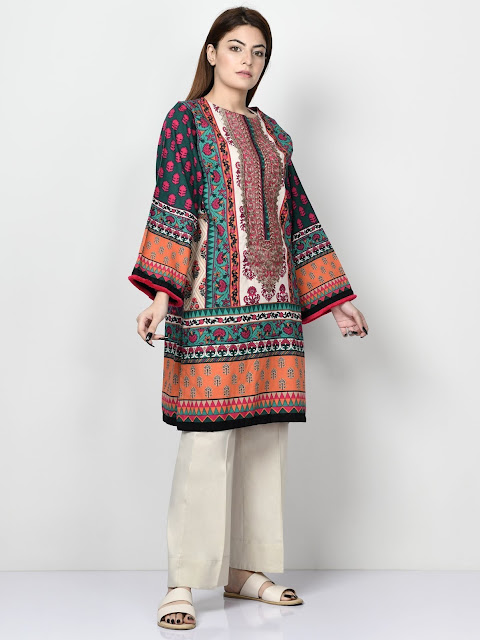 Limelight Multicolor printed khaddar shirt winter pret
