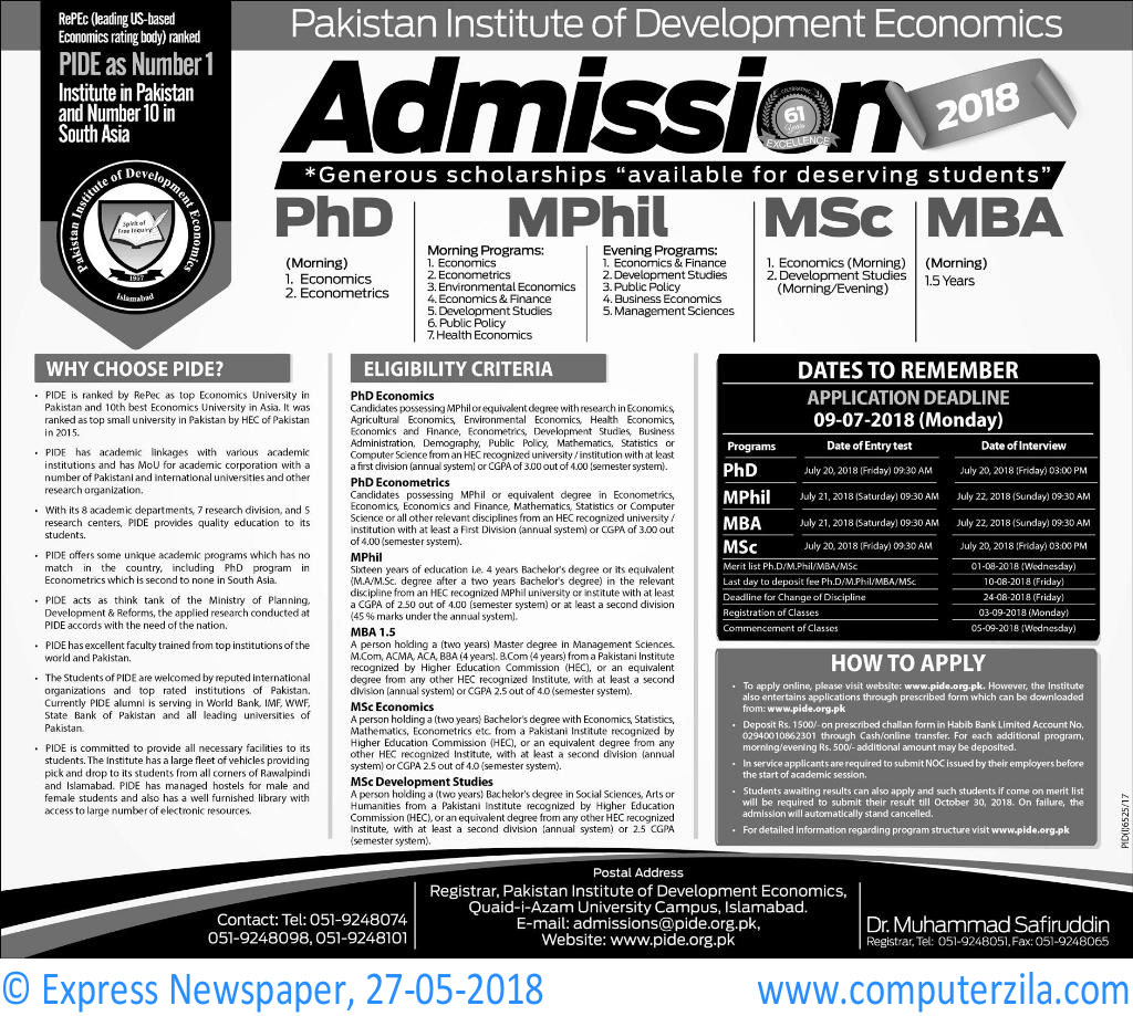 Pakistan Institute of Development Economics Admissions Fall 2018
