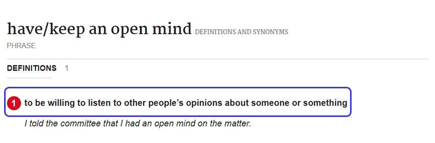 Arti Keep an Open Mind Menurut Kamus