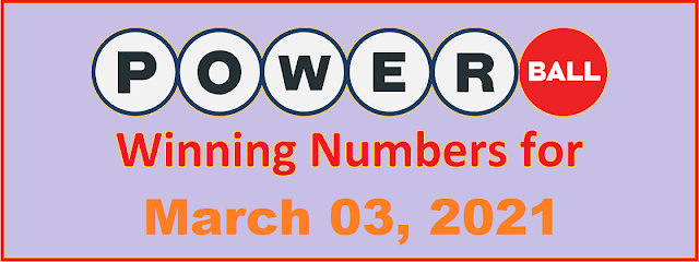 PowerBall Winning Numbers for Wednesday, March 03, 2021