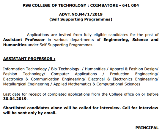 Psg Coimbatore Biotech Assistant Professor Faculty Jobs 2019