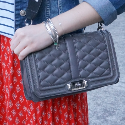 red boho print maxi skirt, Rebecca Minkoff Love cross body bag in grey | awayfromtheblue