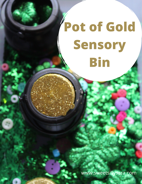 St. Patrick's Day Sensory Bin. This easy activity is perfect for kids who want to find the gold at the end of the rainbow!
