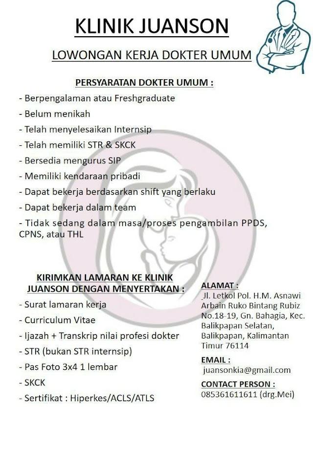 Loker Dokter Umum Klinik Juason Balikpapan, Kalimantan Timur