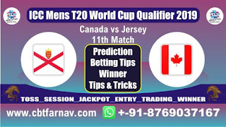ICC T20 Qualifier JER vs CAN 11th T20 Today Match Prediction T20 World Cup Qualifier