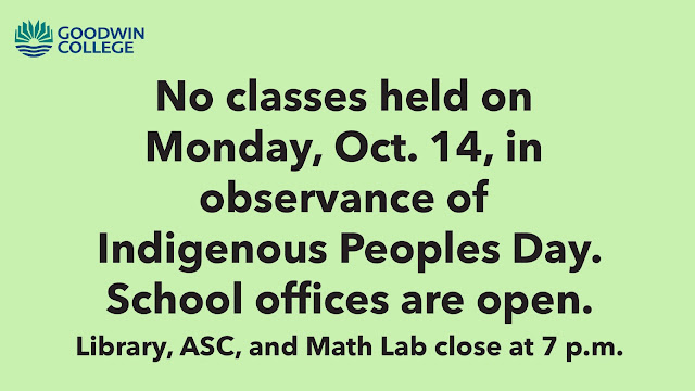 No classes on October 14 in observance of Indigenous Peoples Day