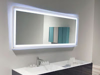 Mirror with LED lighting for modern bathroom vanity lighting idea