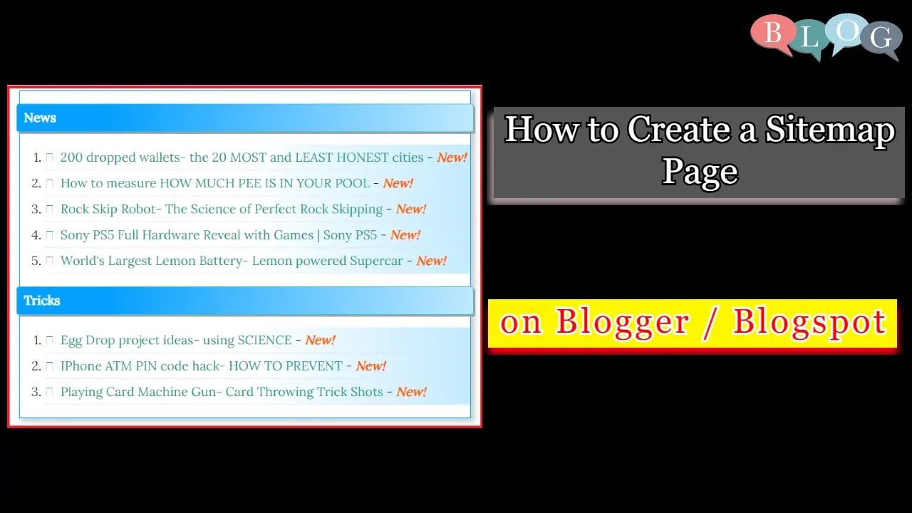 How to Create a Sitemap Page on Blogger / Blogspot