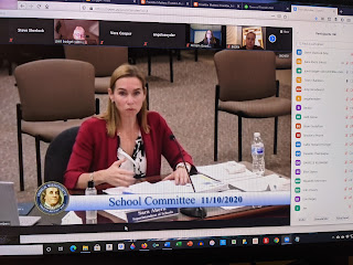 Superintendent Sara Ahern provides an update at a recent SchComm meeting