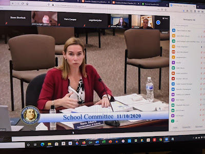 Superintendent Sara Ahern updating the School Committee at a recent meeting