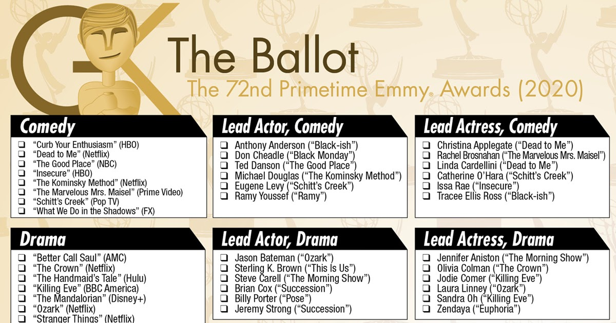 2020 Primetime Emmy Awards Printable Ballot The Gold Knight Latest Academy Awards News And Insight