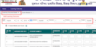 STD 1 AND 2  MARKS DATA ENTRY samayik Online Data Entry for the first periodic test marks of Standard 1
