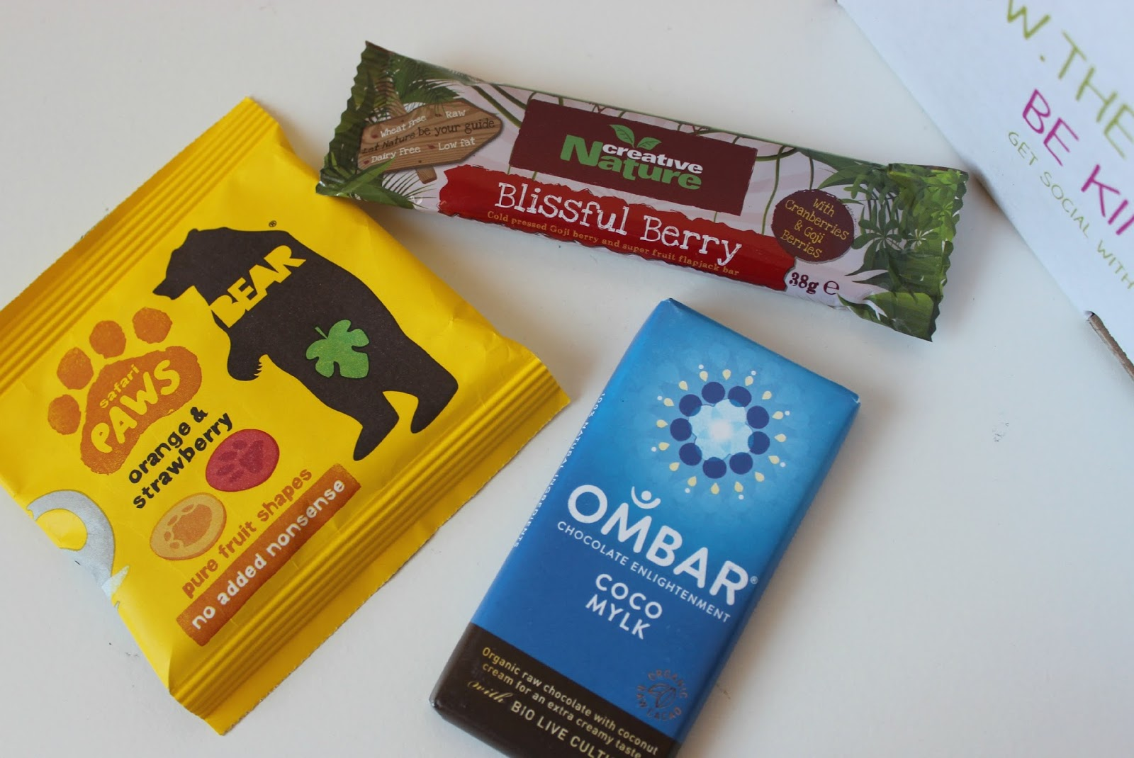 A picture of Bear Paws, Ombar Organic Coco Mylk Bar and Creative Nature Blissful Berry Snack Bar