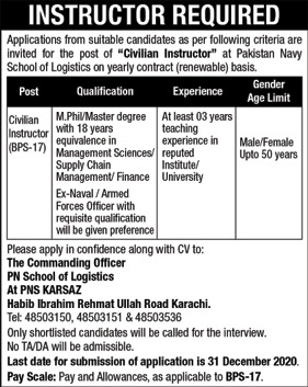 Pakistan Navy Civilian Jobs 2020