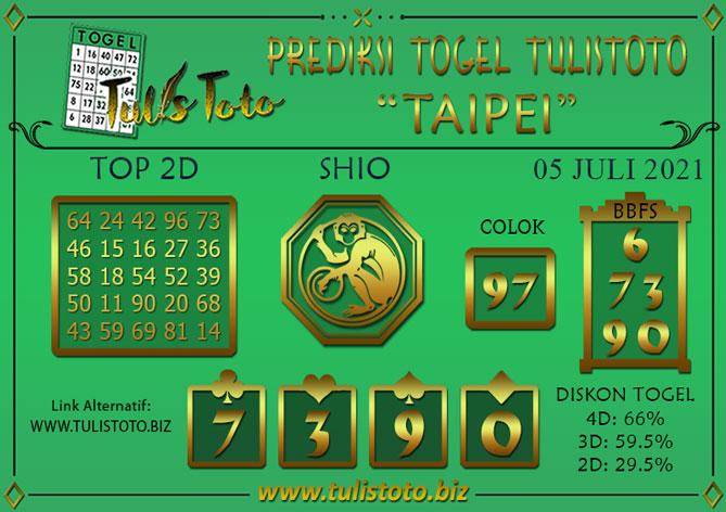 Prediksi Togel TAIPEI TULISTOTO 05 JULI 2021